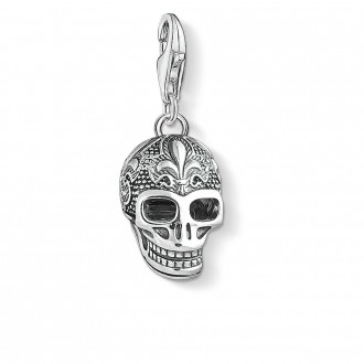 Charm pendant skull with lily